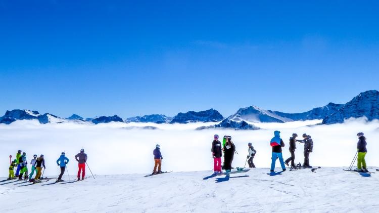 Nebelmeer Skifahren Arosa Schweiz