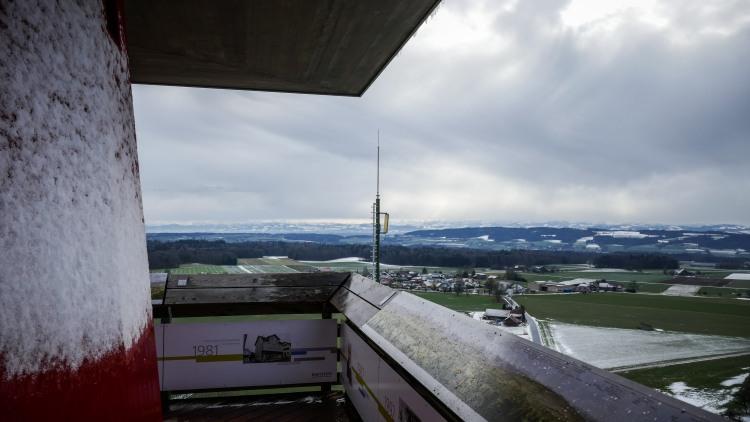 Napoleonturm im Winter offen Thurgau Wäldi Arenenberg Bodensee