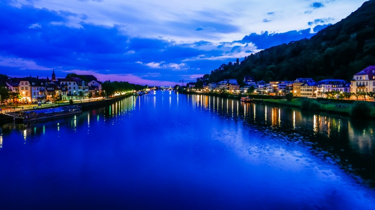 Heidelberg bei Nacht, Neckar, Deutschland, Germany